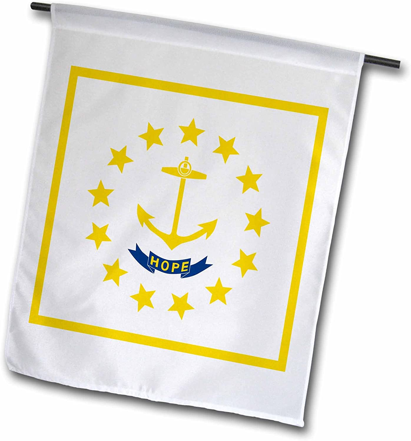 3dRose fl_158416_1 Flag of Rhode Island RI US American United State of America USA Yellow Anchor Hope on White Garden Flag, 12 by 18-Inch