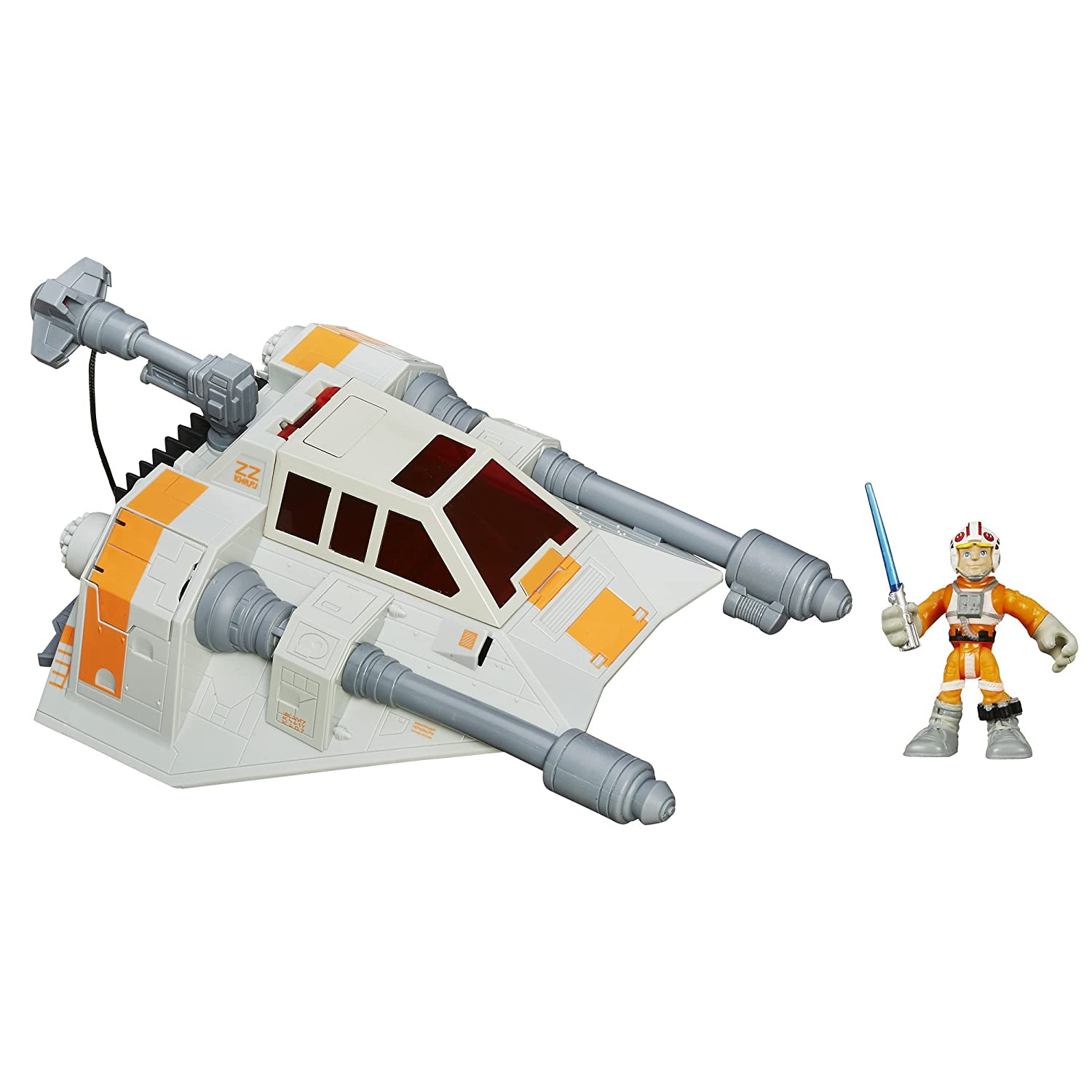 Playskool Heroes Star Wars Galactic Heroes Jedi Force Snowspeeder Vehicle with Luke Skywalker Figure B013CYG40A