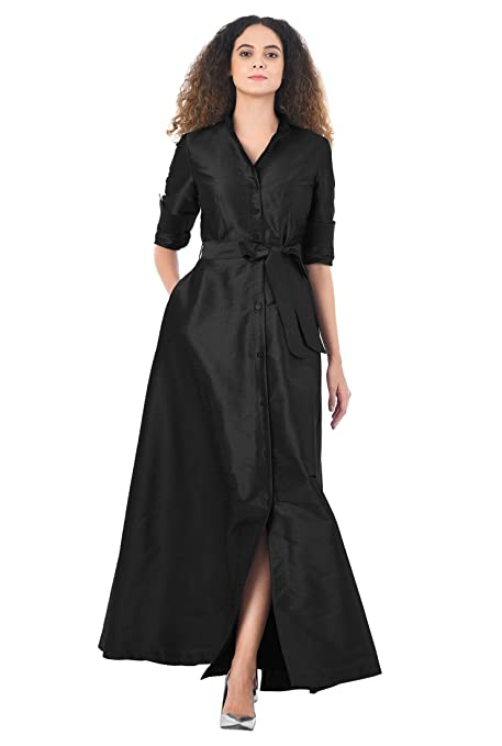 Vintage 50s Dresses: 8 Classic Retro Styles eShakti Womens Sash tie dupioni maxi shirtdress $59.95 AT vintagedancer.com