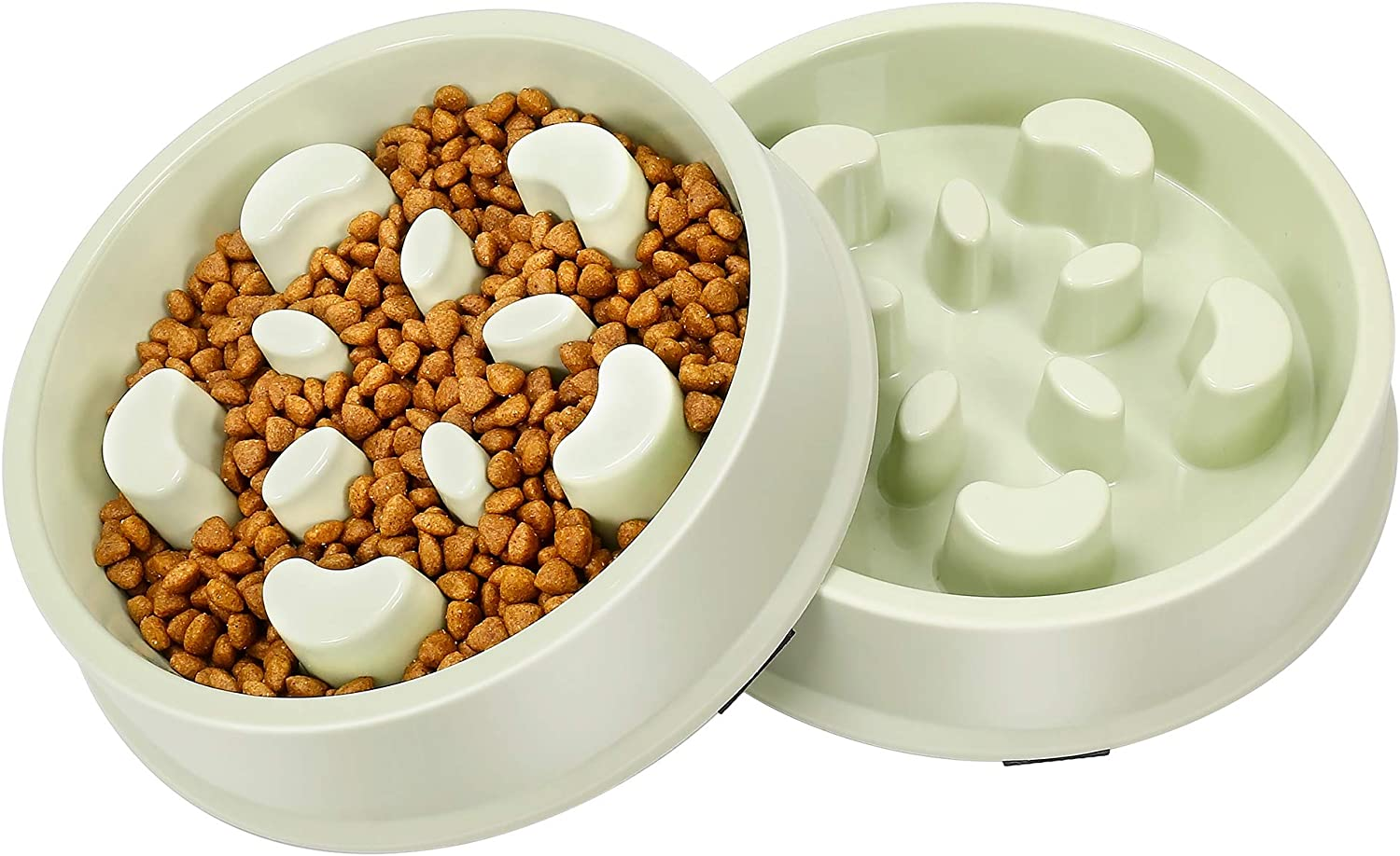 UPSKY Slow Feeder Dog Bowl No Choking Slow Feeder Bloat Stop Dog Food Water Bowl with Funny Pattern (Set of 2)