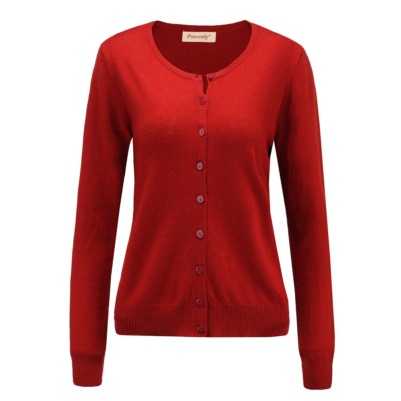 Panreddy Women's Wool Cashmere Classic Cardigan Sweater DarkRed M