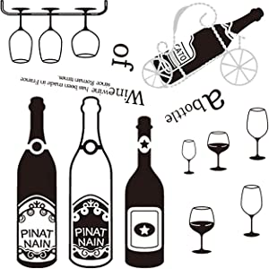 HADEEONG Wine Wall Decals for Home Kitchen Wall Wine Bottle Glass Grape Bar Wine Quotes Wall Stickers Arts Dinning Kitchen Lounge Decor Wall Decoration