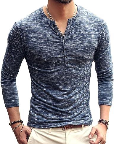 Camiseta de Manga Larga Slim con Cuello en V Camisa Casual Otoño Botones Camisa 3 Color M-2XL: Amazon.es: Ropa y accesorios