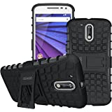 Moto G4 Case, Moto G4 Plus Case - OEAGO [Shockproof] [Impact Protection] Tough Rugged Dual Layer Protective Case Cover with Kickstand for Motorola Moto G4 / G4 Plus (Moto G Plus, 4th Gen) - Black