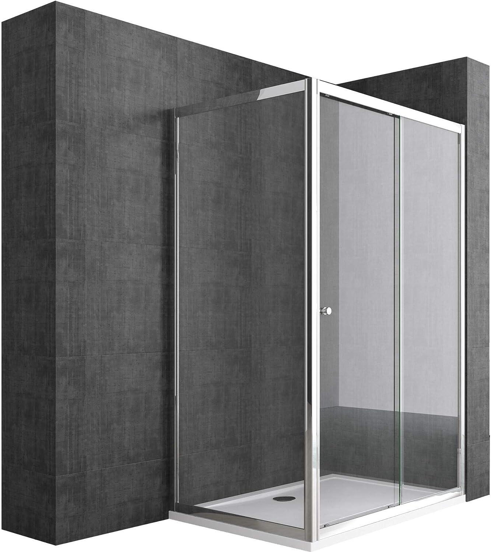 doporro: Cabina de ducha de esquina Rav12 80x100x190 Mampara de vidrio de seguridad transparente puerta corredera derecha o izquierda | Revestimiento incluido: Amazon.es: Bricolaje y herramientas