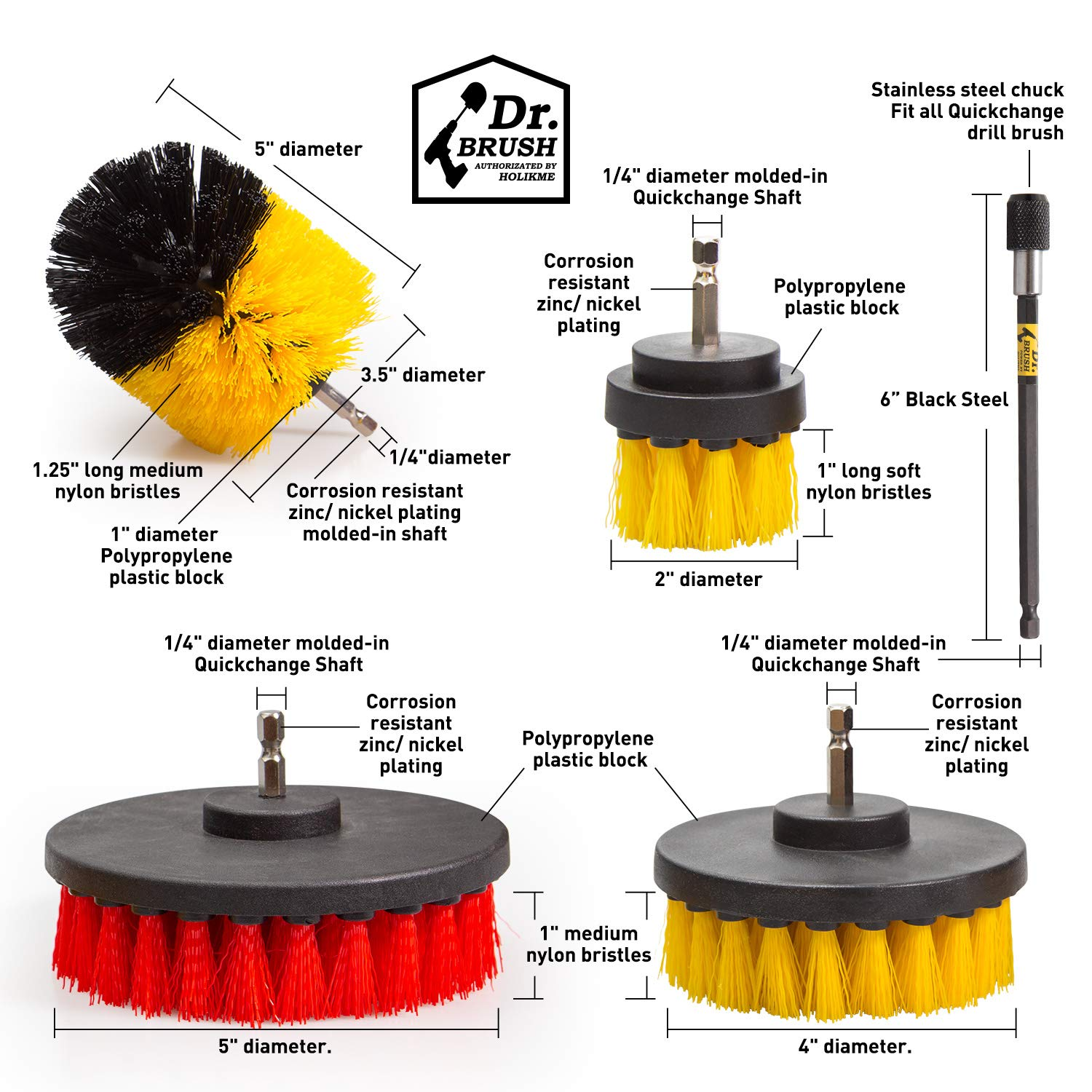 Holikme 14Piece Drill Brush Attachments Set, Scrub Pads & Sponge, Power Scrubber Brush with Extend Long Attachment All purpose Clean for Grout, Tiles, Sinks, Bathtub, Bathroom, Kitchen & Automobile by Holikme (Image #6)