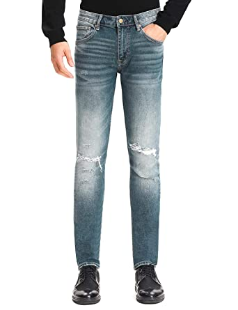 85b9486c D-ID Men's Slim Fit Jeans Blue Ripped Straight Fit Jeans with Knee Hole Mid