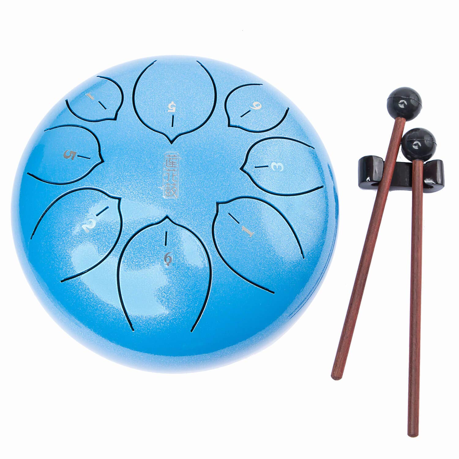 Lronbird Steel Tongue Drum - 8 Notes 10 inches - Percussion Instrument - Handpan Drum with Padded Travel Bag, Book, Mallets, Finger Picks for Meditation, Yoga, Zen and Gift (Blue)
