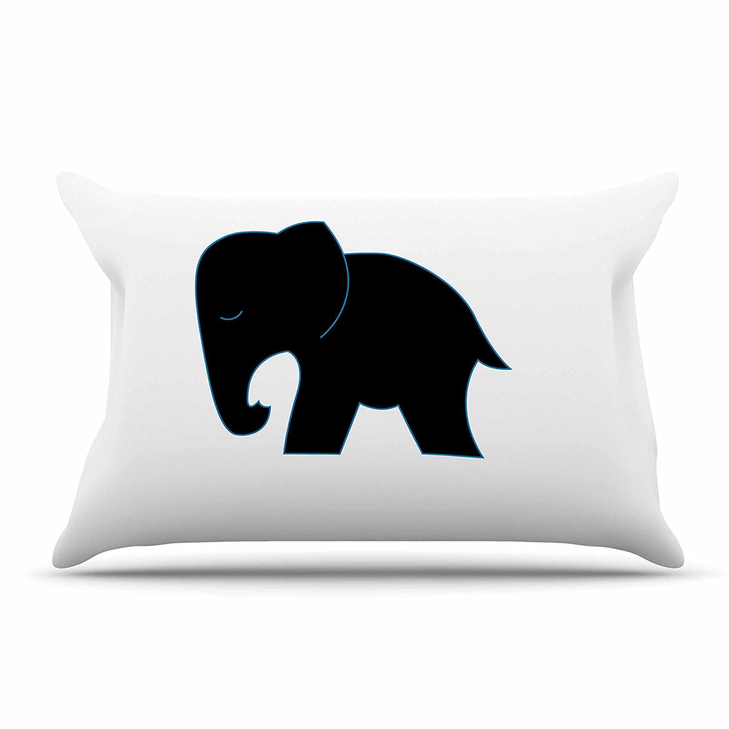 Kess InHouse NL Designs Cute Black Elephant Black Animals Standard Pillow Case, 30 by 20-Inch, 30' X 20'
