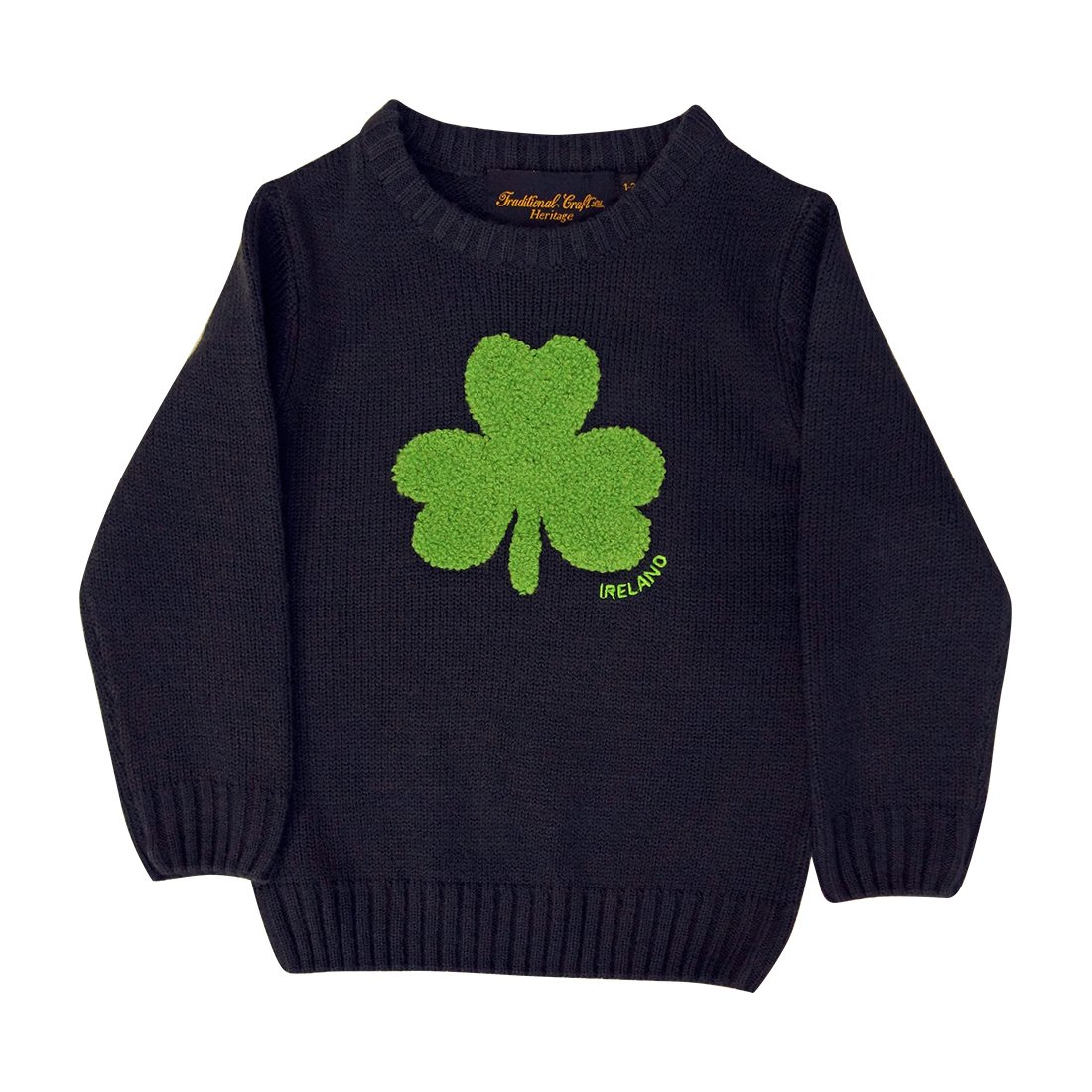 Other Brands Round Neck Ireland Kids Sweater with Fluffy Shamrock, Navy Colour