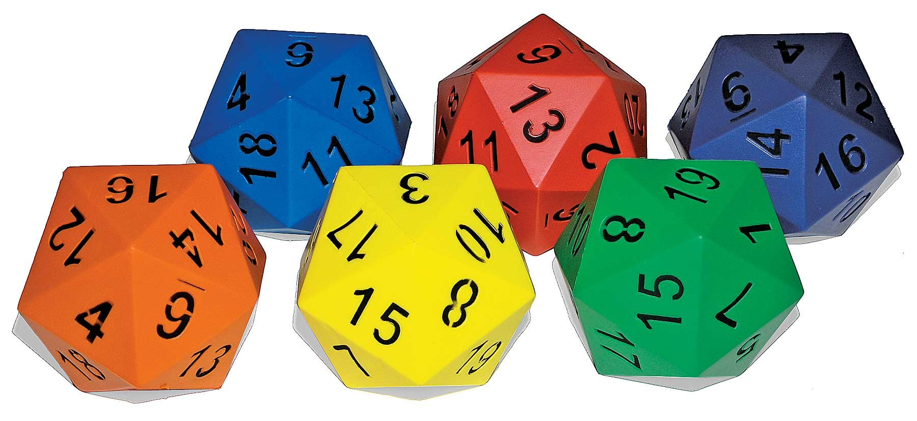 Great Lakes Sports Large (Hand Size) 20 Sided Foam Dice (Sold as a Set of 6) by Great Lakes Sports (Image #1)
