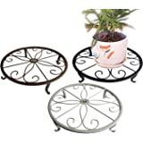 B1ST Plants Stand Flowerpot Holder Olde Metal / Iron Art , 9.52.5 inch, Flower Pot Supporting Indoor Outdoor Garden Pack of 3 Colors, White, Black & Brown