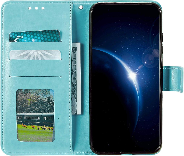 Urhause Coque Compatible avec Samsung Galaxy A5 2016 Mandala Gaufrage Motif Flip Portefeuille Cuir /Étui Pochette Housse Case PU Coque /à Rabat Support Magn/étique Antichoc Protection Cover,Bleu