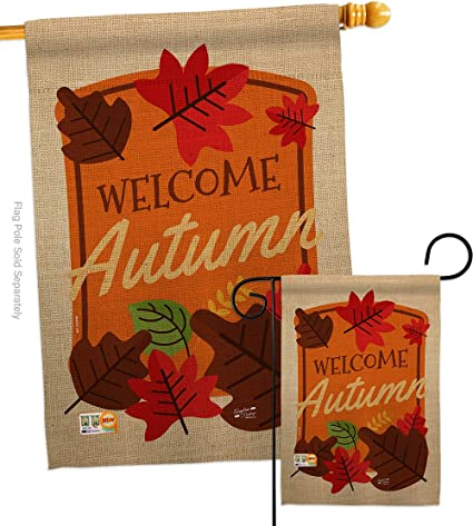 Welcome Autumn Garden House Flag Set Fall Harvest Scarecrow Pumkins Sunflower Leaves Season Autumntime Gathering Decoration Banner Small Yard Gift Double Sided Made In Usa 28 X 40 Garden