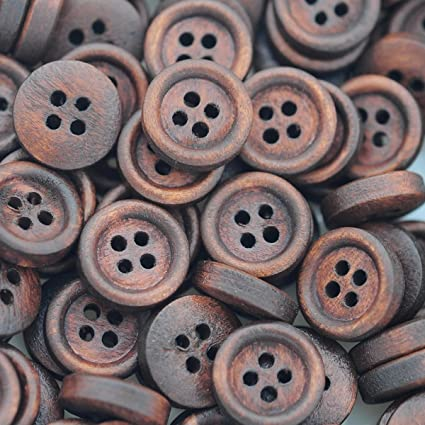 200PCs Wood Buttons Sewing  4 Holes Round Brown 12mm Dia Clothing accessories