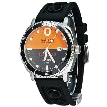 Nautec No Limit Sub Zero - Reloj analógico de caballero automático con correa de goma negra - sumergible a 200 metros: Amazon.es: Relojes