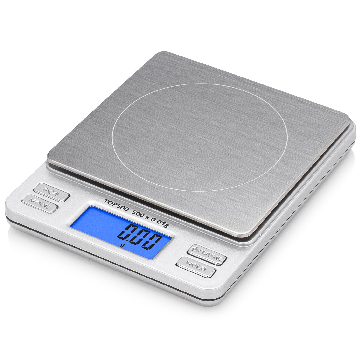 Smart Weigh Digital Pro Pocket Scale with Back-Lit LCD Display, Tare, Hold and PCS Features 500 x 0.01g (2 Lids Included) TOP500