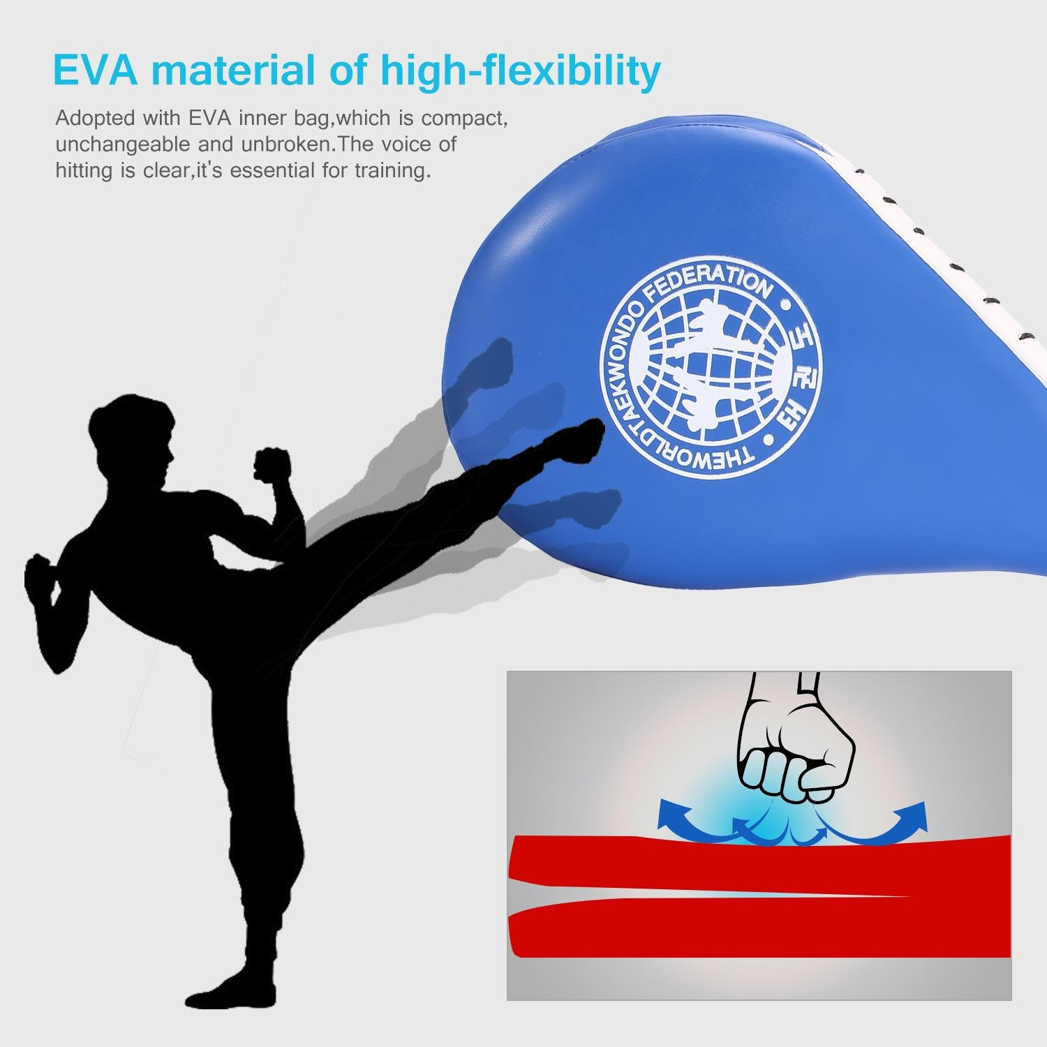1 Pc Taekwondo Kick Pad with Double Layer Design Kick Focus Target Pad Practice Training Equipment Dilwe