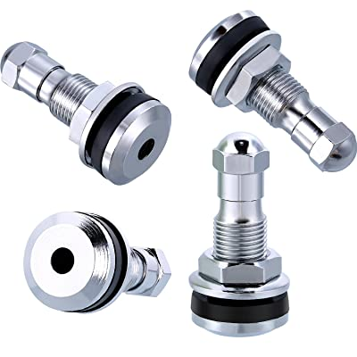 TecUnite 4 Pack Metal Valve Stem TR-416-S 1 Inch Outer Mount Fits 0.453 Inch and 0.625 Inch Rim Holes: Kitchen & Dining [5Bkhe0919025]