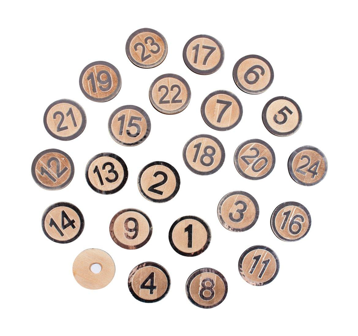 Rayher 46291606 MDF-Advent calend.Numerals 1-24, 3.5cm ø, Silver