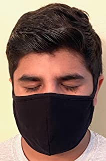 product image for Made in USA Fashion Protective 2 Ply Face Mask Unisex Washable Cotton Mask Hand Made… (Black)