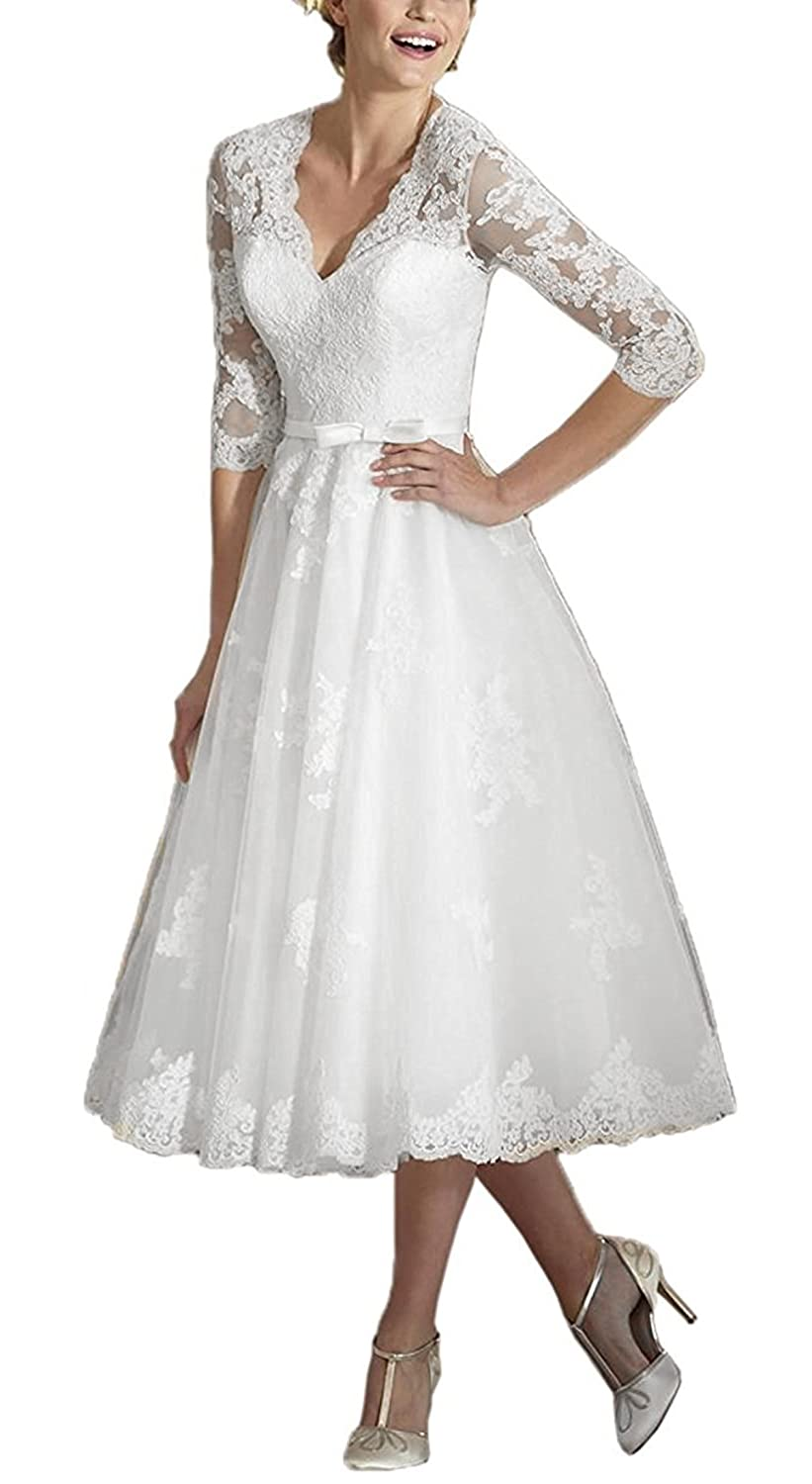 BRL MALL Women s Tea Length V Neck Lace Wedding Dress with Half Sleeves for  Bridal 2018 WD03 at Amazon Women s Clothing store  d84c245376