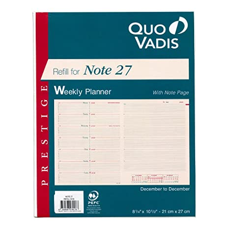 Quo Vadis Refill for Note 27 2019 Planner