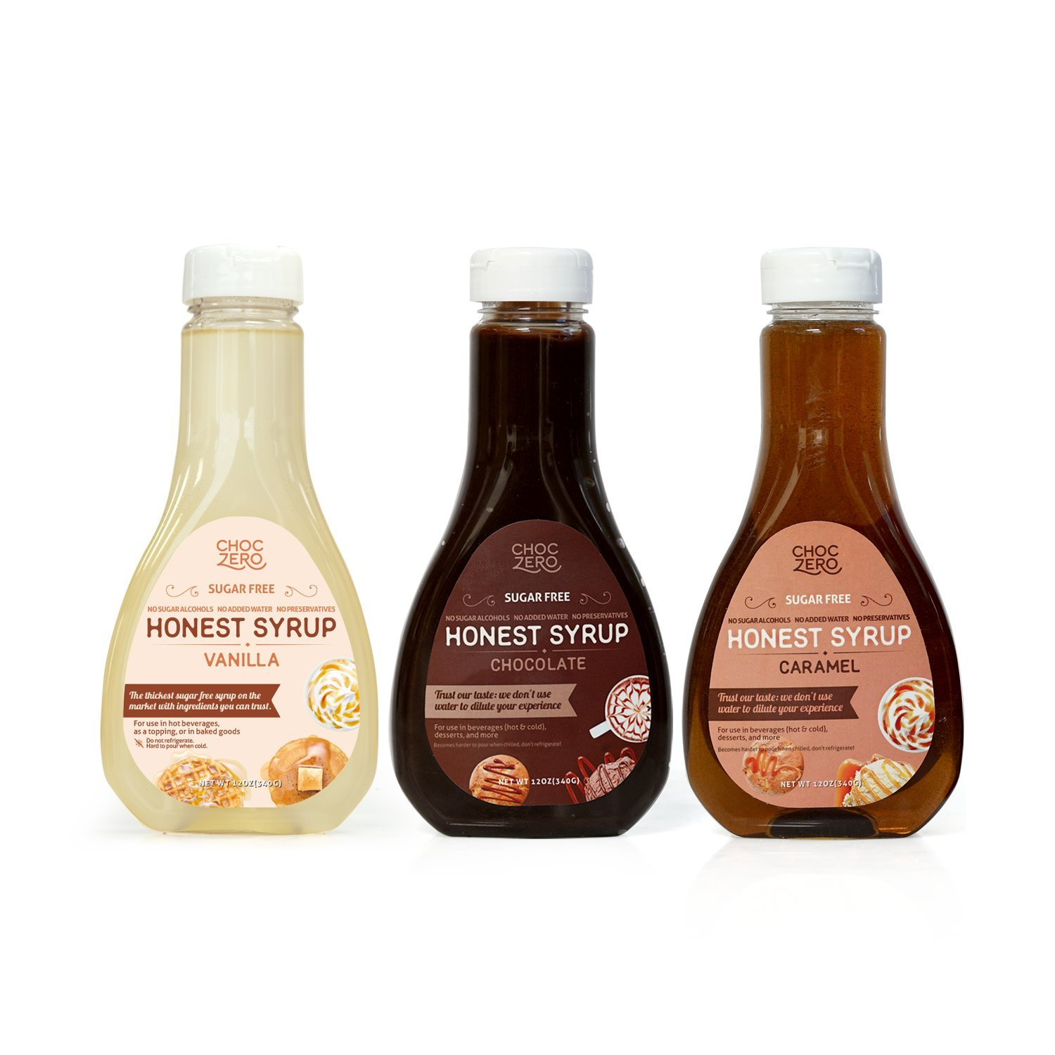 ChocZero's Chocolate Syrup, Caramel Syrup and Vanilla Syrup, 3 Pack Combo. Sugar Free, Low Net Carb, No Preservatives. Gluten Free. No Sugar Alcohol. Dessert and breakfast toppings.(3 Bottles)