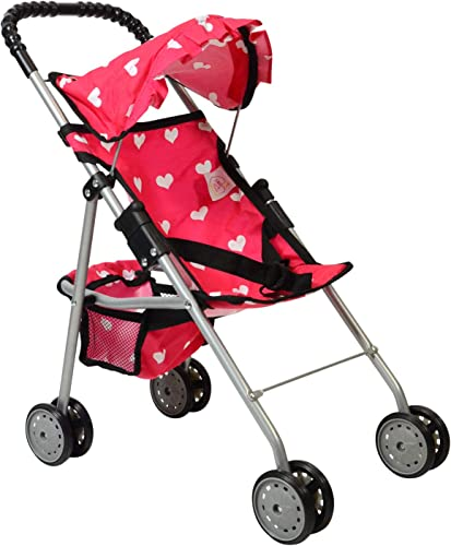 The New York Doll Collection My First Doll Stroller pink with white hearts