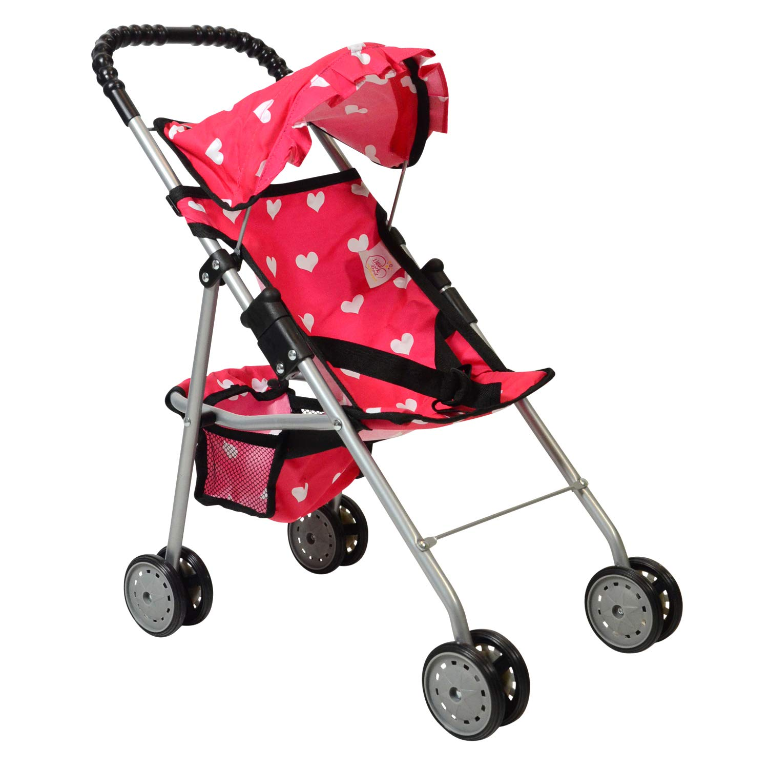 The New York Doll Collection My First Doll Stroller with Basket & Heart Design Foldable Doll Stroller, Pink by The New York Doll Collection
