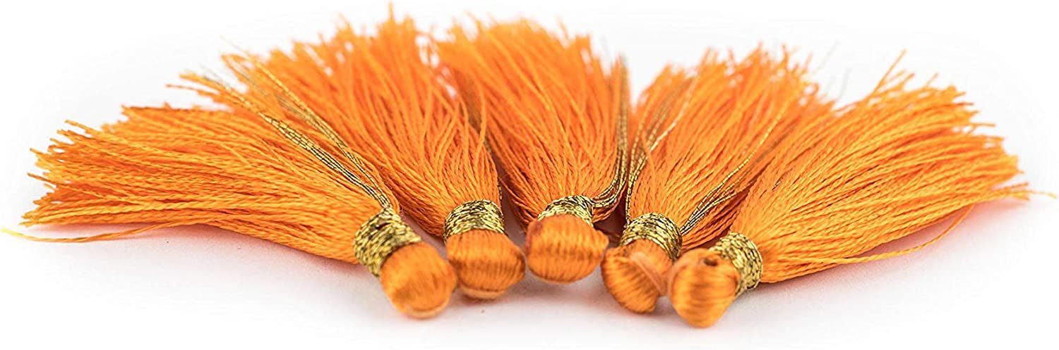 TheBeadChest 1.25 Silk Tassel 5 Pack Genuine Authentic Silk Handmade for DIY Crafts Jewelry Necklace and Bracelet Making 20+ Colors to Choose from