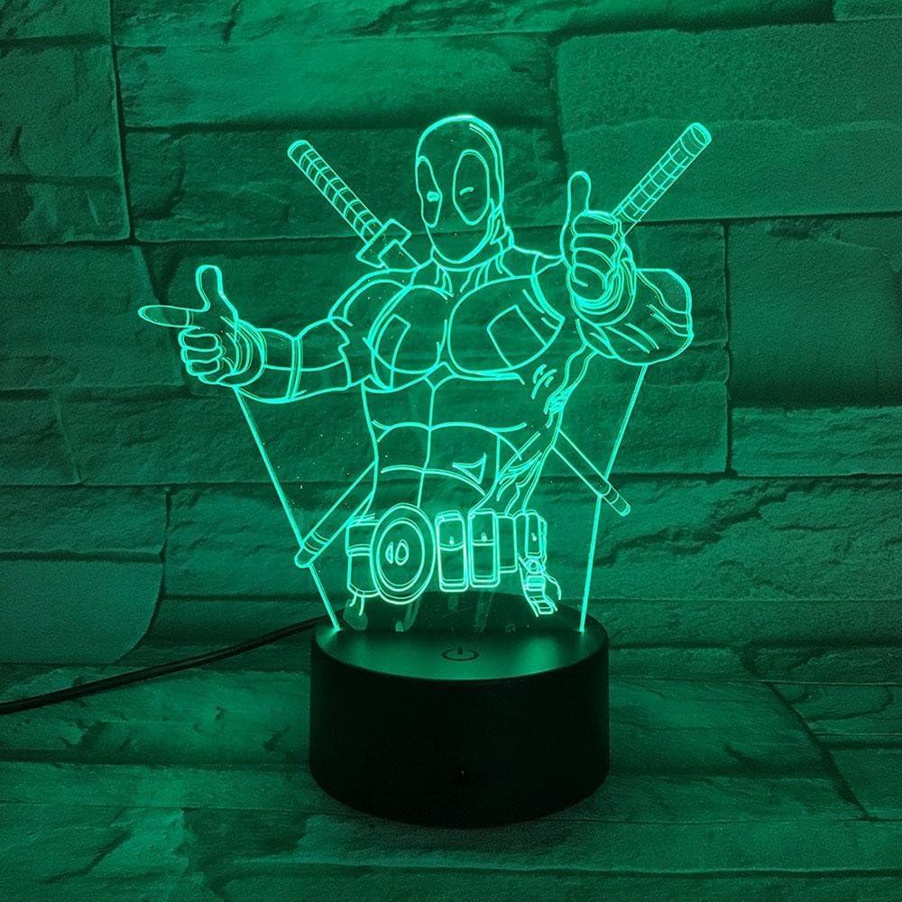 3D Illusione Lampada 3D Ottica DEADPOOL Lampada di Illuminazione Luce Notturna a Effetto Led 7 Touch Lamp Cambia Colore per Il Compleanno di Matrimonio Natale Valentine Amici per Bambini Regali Artis