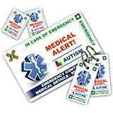 ICECARD AUTISM In Case of Emergency (I.C.E.) Card Pack with Key Rings & Stickers from Wallet size Autistic card with WRITABLE reverse to carry Emergency Contact & Medical/Medication Information