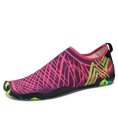 SAGUARO® Verano Aquashoes Zapatos de Agua Zapatillas de Playa Secado Rápido  Calcetines de Natación Calzado de Surf acuàticos deporte Hombre Mujer Rosa  39  ... 05434fa41ad