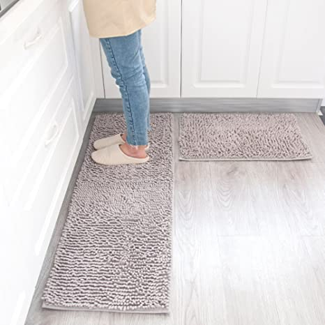 Amazon Com Maxyoyo Kitchen Rug 2 Pieces Set Grey Chenille