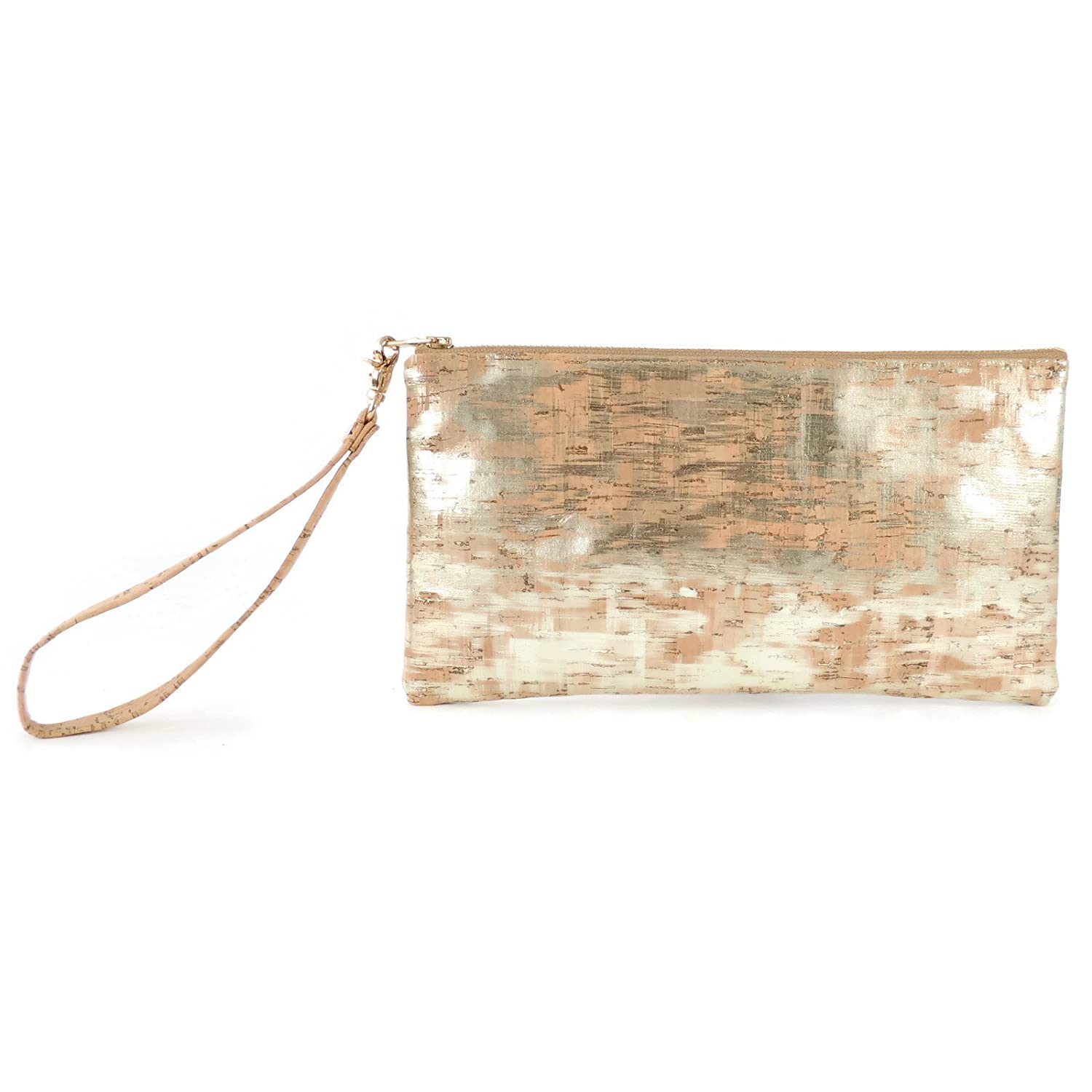 Wristlet Evening Clutch Bag in Brushed Gold Cork