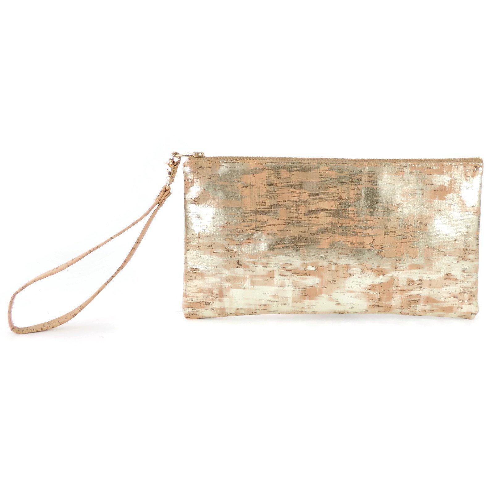 Wristlet Evening Clutch Bag in Brushed Gold Cork