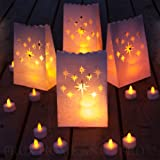 Frux Home and Yard Flameless Tea Lights - 24 Yellow Flickering LED Candles With 12 Bonus Luminary Bags Included