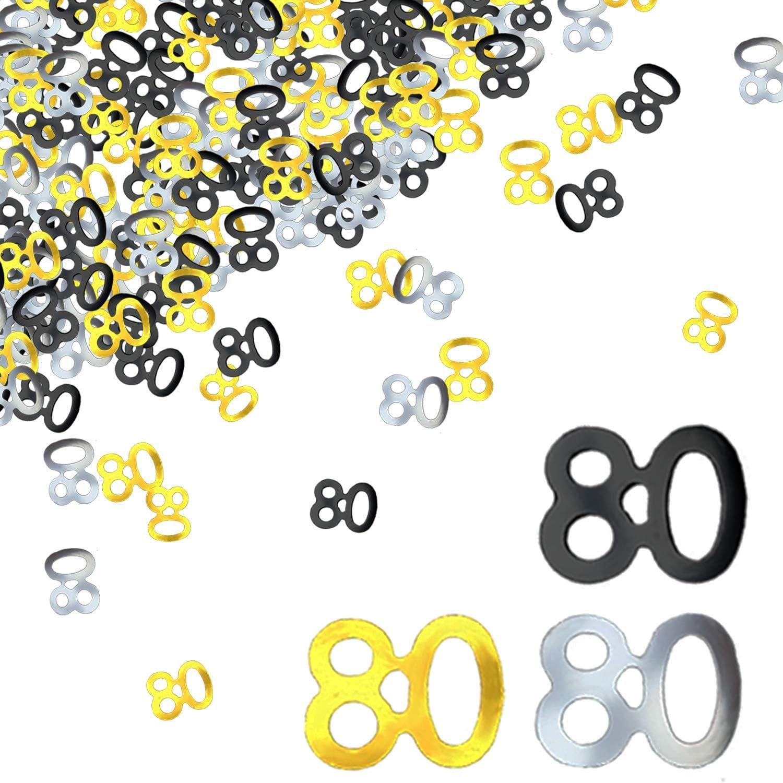 BEADNOVA 80th Birthday Confetti Eighty Years Old Confetti 80 Anniversary Number Confetti for Birthday Party Decor Wedding Table Decoration (1oz, Gold Silver Black Mix)