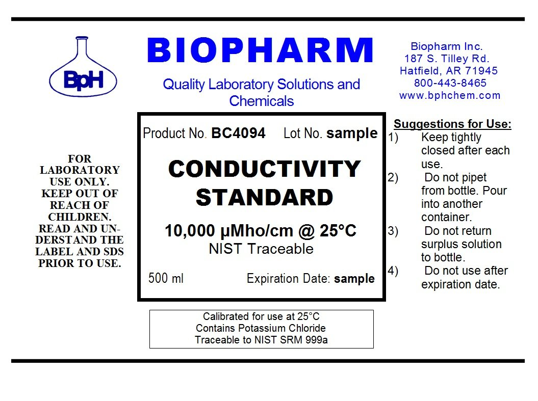 Conductivity Calibration Standard 3-Pack 500 ml Each 1000 US, 10,000 uS and 100,000 uS by Biopharm (Image #3)