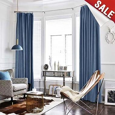 Velvet Curtain Dark Slate Living Room Rod Pocket Window Curtain Panel 95 inch Long Bedroom Thermal 1 Panel