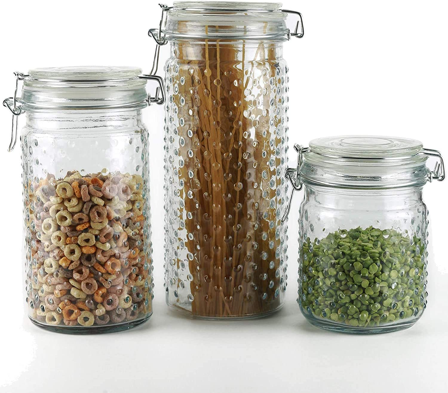 Glass Canister and Canning Jars w/Airtight Bail & Trigger Silicone Seal -Clear Glass Hinged Lid -Set Of 3- For Kitchen Canning Cereal, Pasta, Sugar, Beans, Nuts 0.6L-20 oz,1.1L-37 oz,1.3L - 44 oz.