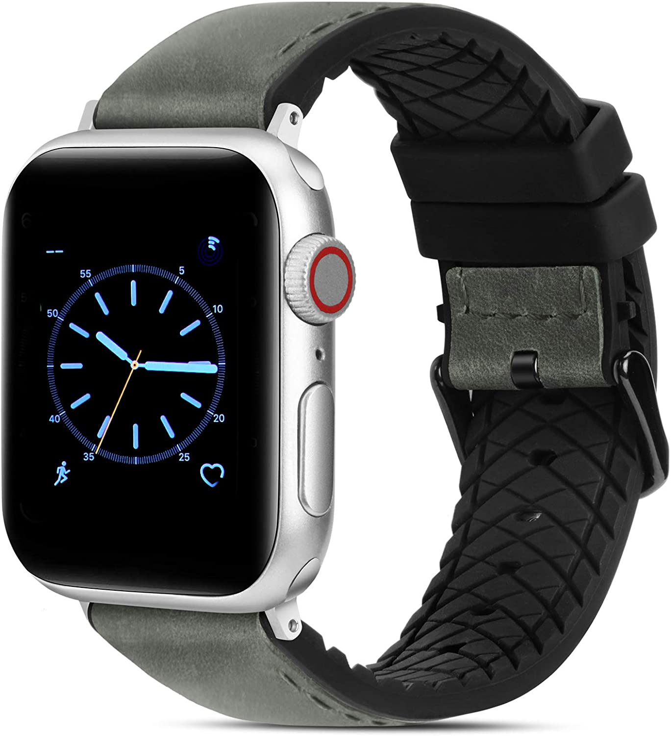 FITWORTH Rocky Series, High End Hybrid Band Compatible with Apple Watch 42/44, Silicone Rubber + Genuine Leather, Simple & Raw