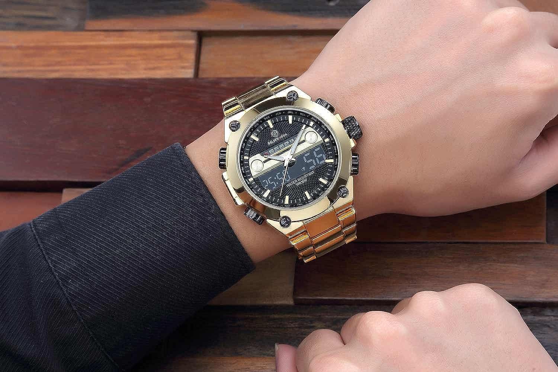 CalUXE - Reloj de pulsera digital con cronógrafo y calendario de alarma para hombre, con pantalla LCD multifunción, resistente al agua: Amazon.es: Relojes
