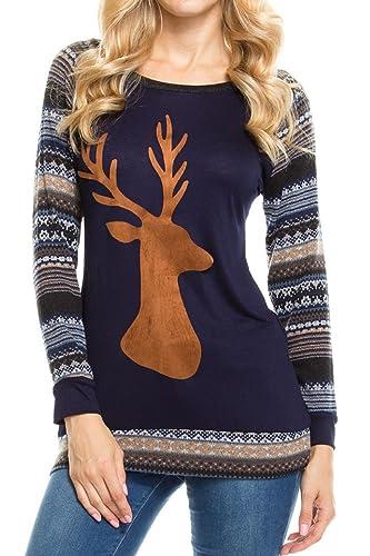 Camisetas de Navidad Tops Mujeres Reno O-cuello de algodón manga larga rayas otoño invierno Slim Fit...