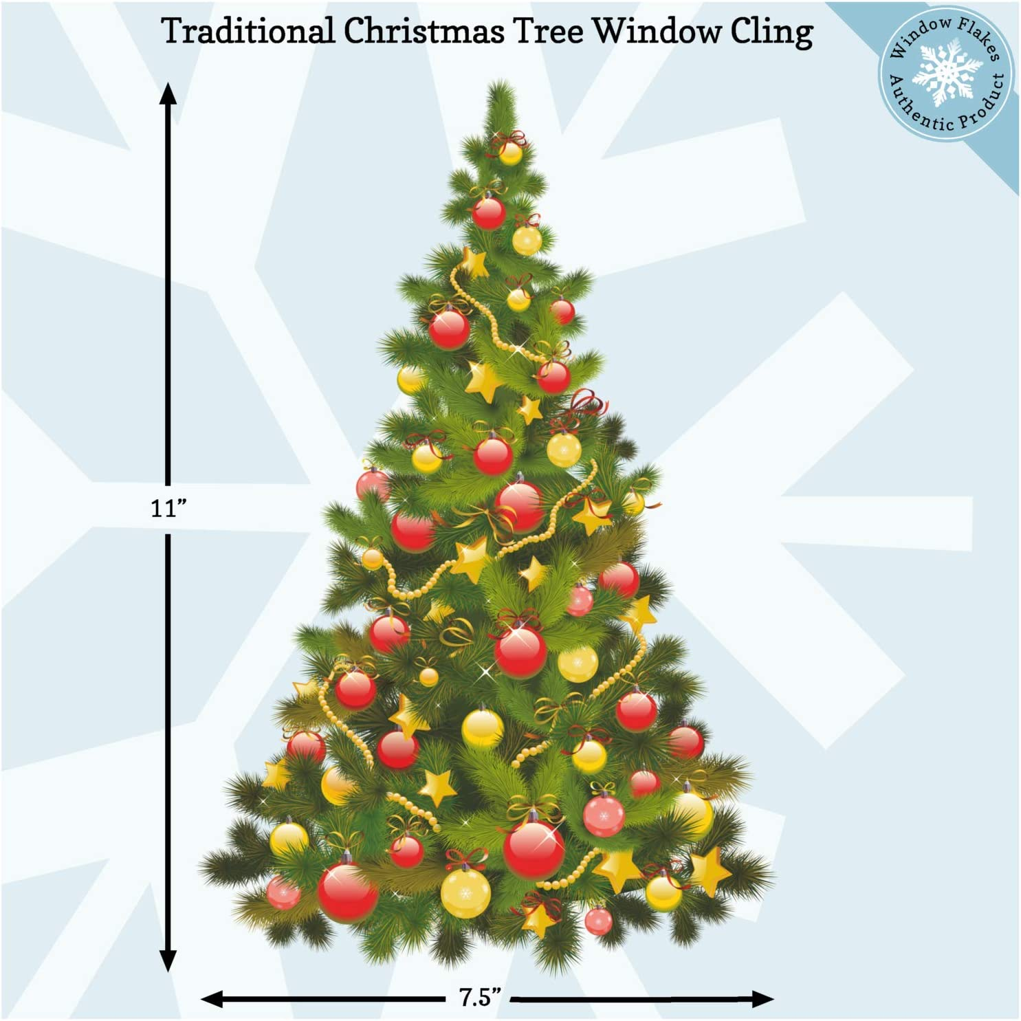 Christmas Window Clings Christmas Tree with Baubles Window Decorations Reusable Non Adhesive Holiday Window and Door Décor