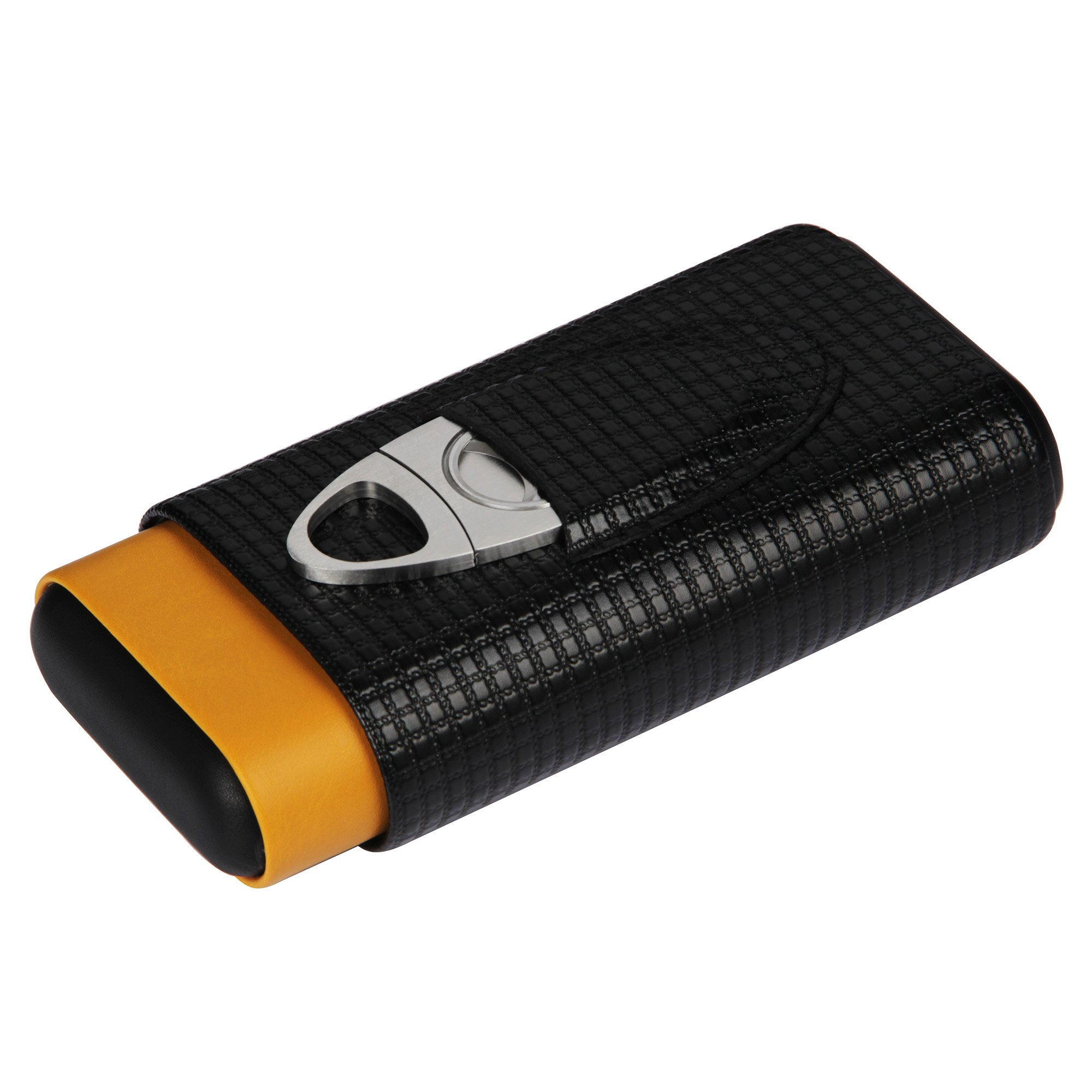 CIGARISM Leather Embossed Cedar Lined 3 Tube Cigar Case Holder with Cutter (Black&yellow)