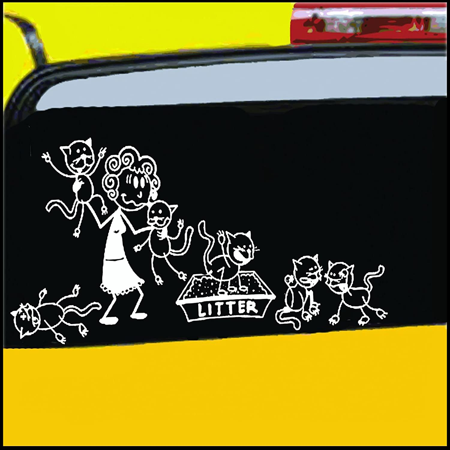 Nepa designs crazy cat lady stick figure family decal can be applied to any surface funny vinyl decal sticker white in color no inks 100 vinyl 8 5x 5 5