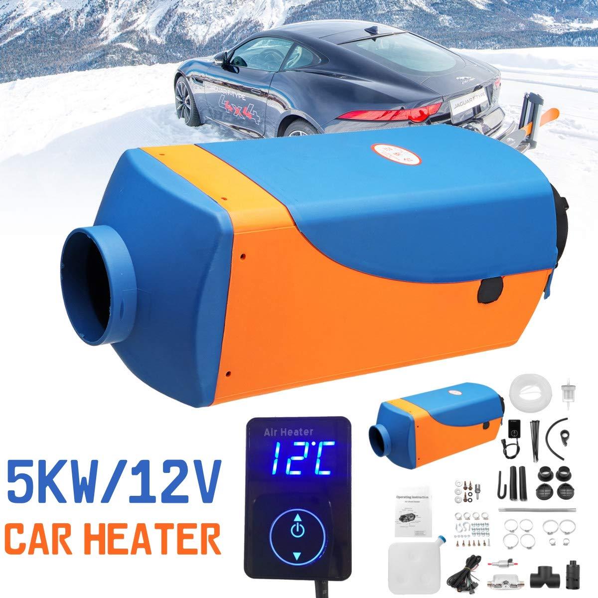 KingSo 12V 5KW Air Diesel Fuel Heater for Trucks Boats Bus Car Motor-Homes (Blue+Orange)