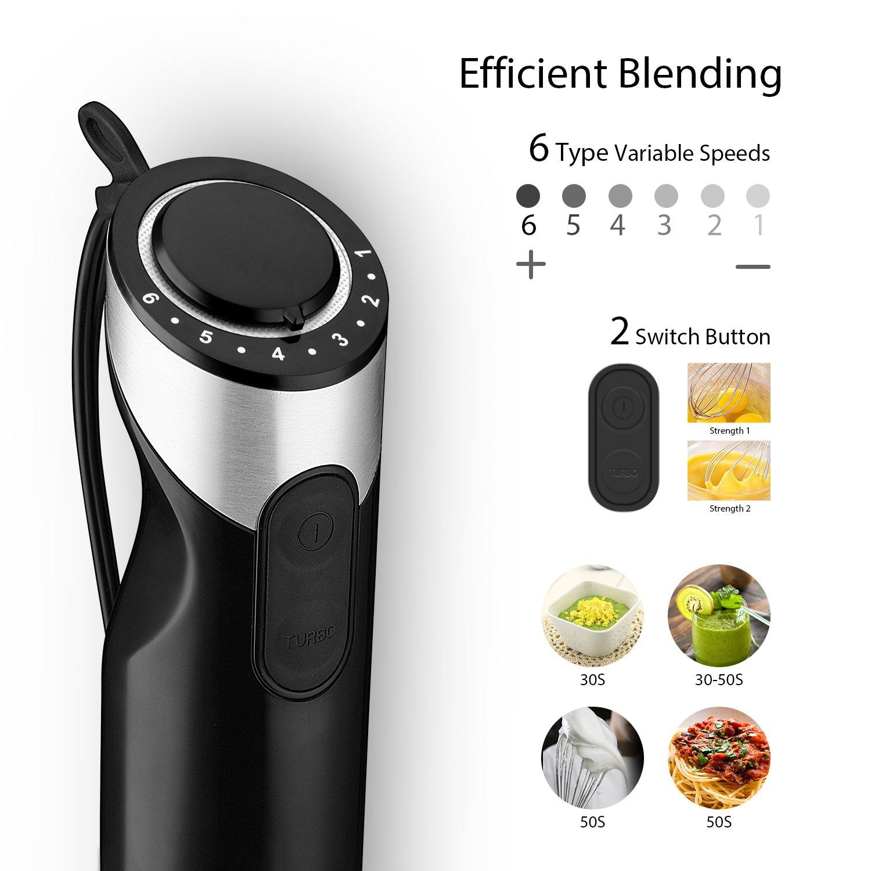 Willsence Batidora de mano, 600 Watts 4-en-1 Potente Blender con 500ml de procesador de alimentos, batidor de whisky y vaso de 600ml: Amazon.es